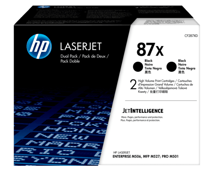 Pack de 2 Cartuchos de Tóner HP 87X Negro Alto Rendimiento LaserJet Original