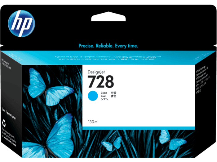 Cartucho de Tinta HP 728 Cian DesignJet de 130 ml