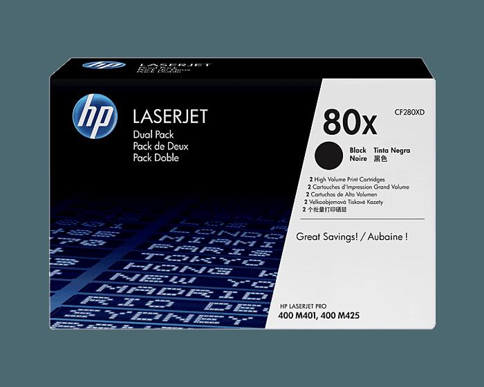 Pack de 2 Cartuchos de Tóner HP 80X Negro Alto Rendimiento LaserJet Original