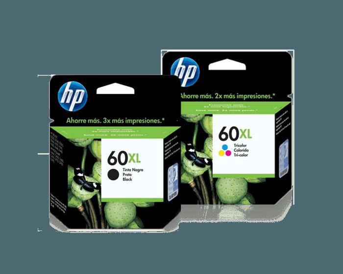 Pack de Cartuchos de Tinta HP 60XL Negro + Tricolor