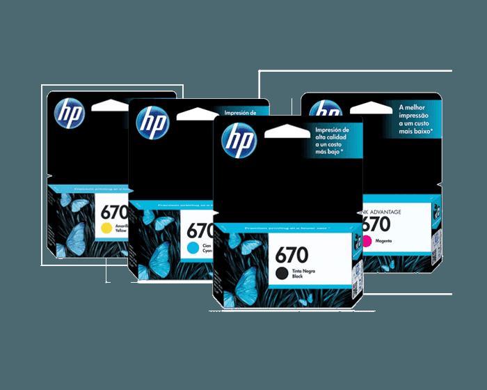 Pack de Cartuchos de Tinta HP 670 Negro + Amarillo + Magenta + Cian